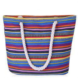 Casual Striped and Canvas Design Shoulder Bag For Women -