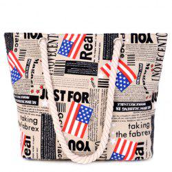 Casual American Flag and Canvas Design Shoulder Bag For Women