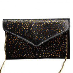 Stylish Candy Color and Engraving Design Shoulder Bag For Women - BLACK