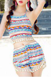 Ethnic Style Halterneck Fringed Tribal Print Three-Piece Swimwear For Women