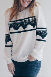 Long Sleeve Chevron Graphic Sweatshirt - WHITE