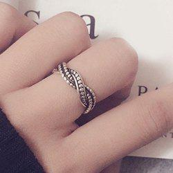 Vintage Alloy Wave Casual Ring - SILVER