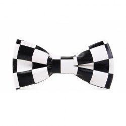Stylish Checked Pattern Black and White PU Bow Tie For Men