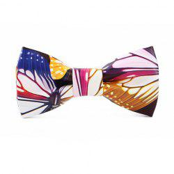 Stylish Colorful Vivid Butterfly Pattern PU Bow Tie For Men - WHITE