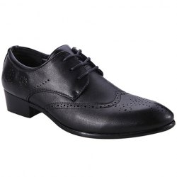 Trendy Wingtip and Lace Up Design Formal Shoes For Men - BLACK