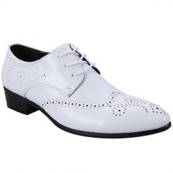 Trendy Wingtip and Lace Up Design Formal Shoes For Men - WHITE