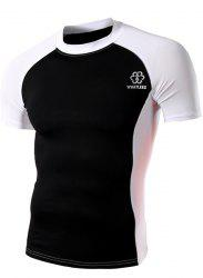 Summer Round Neck Color Spliced Short Sleeves Sweat Dry Tight T-Shirt For Men - WHITE