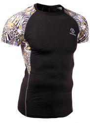 Quick-Dry Skinny Leopard Print Round Neck Short Sleeves Cycling T-Shirt For Men -