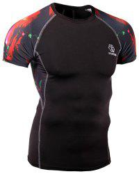 Skinny Stripes Abstract Print Round Neck Short Sleeves Quick-Dry T-Shirt For Men -