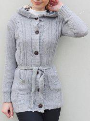 Women's Long Sleeve Hoodie Coat Cardigans trench Sweater - GRAY