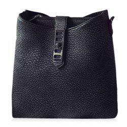 Trendy Solid Color and PU Leather Design Shoulder Bag For Women - BLACK