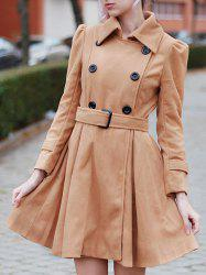 Fit and Flare Double Breasted Coat - KHAKI