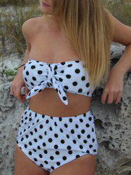 High-Waisted Polka Dot Strapless Bikini -