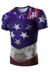 3D Stars Printed Round Neck Short Sleeve T-Shirt For Men - COLORMIX L