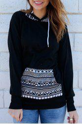 Chic Hooded Long Sleeve Geometric Print Women's Hoodie - BLACK S