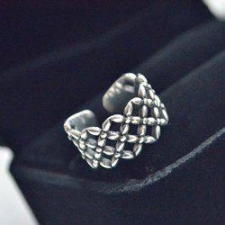 Vintage Floral Hollow Out Cuff Ring - SILVER