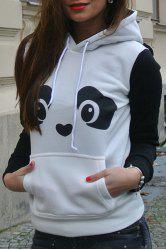 Fresh Style Ear Shape Hooded Panda Print Fleece Pullover Hoodie For Women - WHITE
