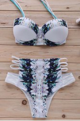 Printed Halter High Waisted Bikini Set - WHITE