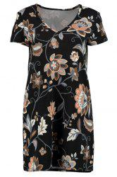 Stylish V-Neck Printed Short Sleeve Dress For Women