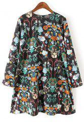 Floral Print Short Long Sleeve Dress