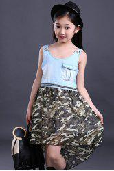 Cute Scoop Neck Sleeveless High Low Camouflage Color Dress For Girl -
