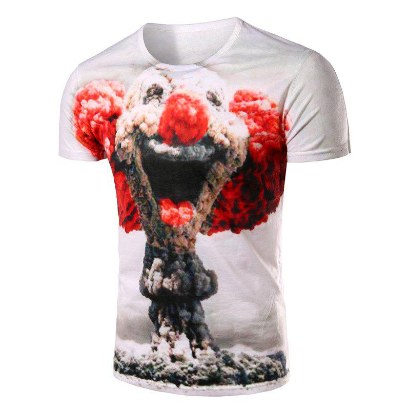Slimming Pullover Clown Printing T-Shirt For MenMEN<br><br>Size: 2XL; Color: WHITE; Style: Casual; Material: Cotton Blends; Sleeve Length: Short; Collar: Round Neck; Pattern Type: Others; Weight: 0.178kg; Package Contents: 1 x T-Shirt;