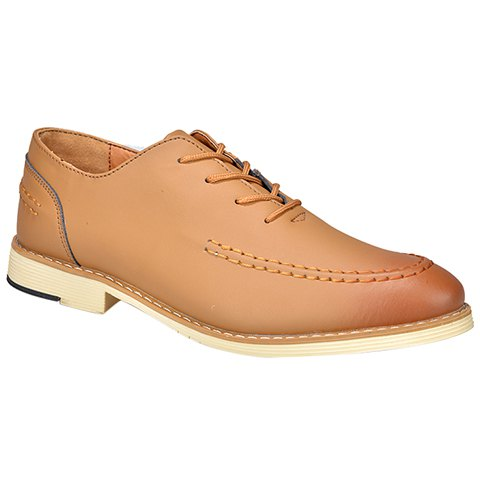 Trendy Vintage Lace-Up and PU Leather Design Formal Shoes For Men