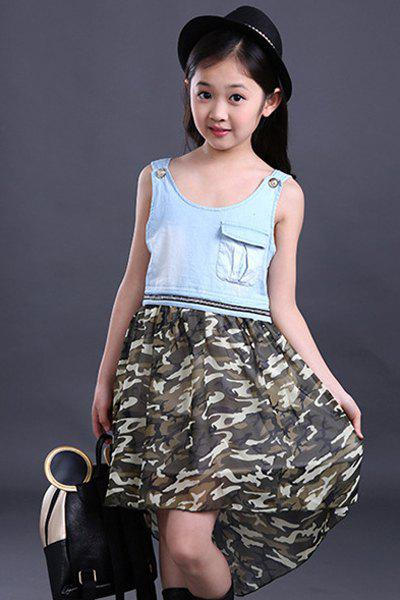 Trendy Cute Scoop Neck Sleeveless High Low Camouflage Color Dress For Girl
