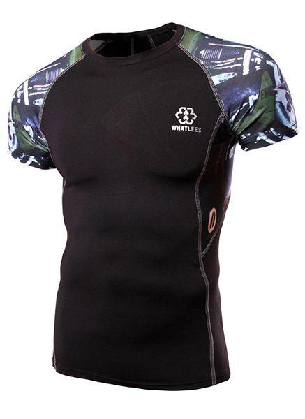 Best Round Neck Abstract Print Splicing Design Short Sleeve Fitted T-Shirt For Men
