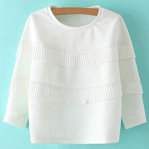 Cheap Sweet Round Neck Ruffles 3/4 Sleeve Sweatshirt For Women