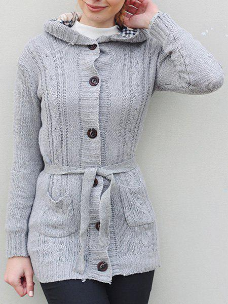 Womens Long Sleeve Hoodie Coat Cardigans trench SweaterWOMEN<br><br>Size: ONE SIZE; Color: GRAY; Type: Cardigans; Material: Polyester; Sleeve Length: Full; Collar: Hooded; Style: Casual; Pattern Type: Solid; Season: Winter; Weight: 0.564kg; Package Contents: 1 x Cardigan;