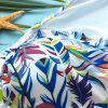 Attractive Gauze Spliced Leaf Printed High Neck Bikini For Women - COLORMIX S