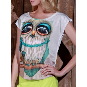 Stylish Scoop Neck Owl Print Short Sleeve T-Shirt For Women