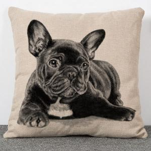 High Quality Dog Pattern Flax Pillow Case(Without Pillow Inner)