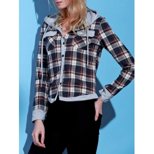 Stylish Hooded Long Sleeve Gingham Single-Breasted Women's Blouse - BROWN S