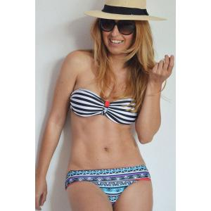 Sexy Halter Neck Striped Ethnic Print Women's Bikini Set -