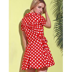 Polka Dot Cute Short Sleeve Ball Wrap Dress - RED S
