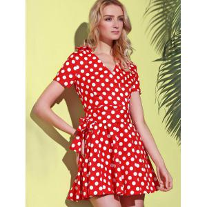 Polka Dot Cute Short Sleeve Ball Wrap Dress - RED L