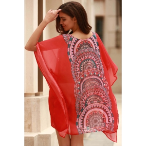Stylish Scoop Neck Bat-Wing Sleeve Geometric Print Women's Cover Up - ORANGE XL