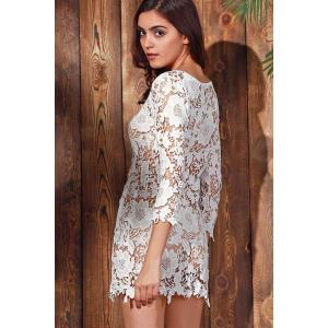 Scalloped Lace Sheer Swimsuit Cover Ups Dress -