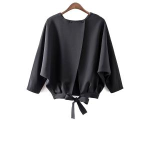Fashion Beteau Neck Batwing Sleeve Tie Back Women's Blouse