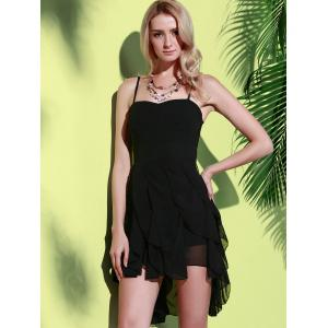 Asymmetrical Flounce Slip Gothic Dress - BLACK XL