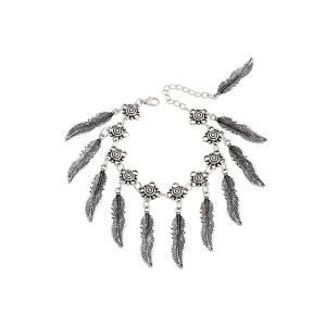 Chic Alloy Leaf Tassel Bracelet For Women - Silver - One-size