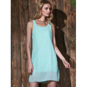 Bowknot Chiffon Shift Tank Dress -