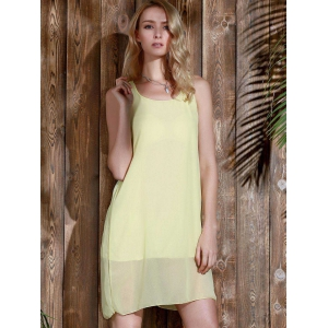 Bowknot Chiffon Tank Dress - YELLOW M