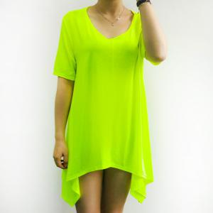 Women's Stylish Fluorescent Green Short Sleeve Asymmetrical T-Shirt - Neon Green - 3xl