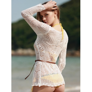 Long Sleeve Hollow Out Swimwear Cover-Ups - WHITE ONE SIZE(FIT SIZE XS TO M)
