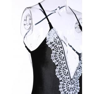 Sexy Spaghetti Strap Sleeveless Lace Splicing Backless Bodysuit For Women -