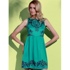 Fashionable Jewel Neck Sleeveless Printed A-Line Dress For Women -