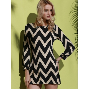 Fashionable Color Block Zigzag Printed Dress For Women -